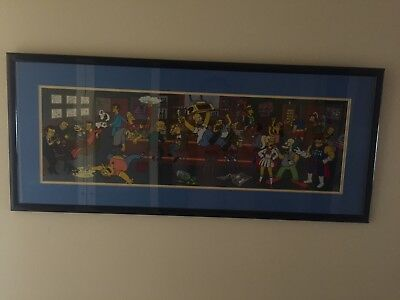 LIMITED ED ANIMATION SERIAL CEL SIMPSONS HAPPY HOUR MOES Framed 20th Century Fox