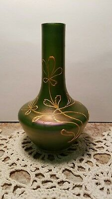 Antique Bohemian Loetz Gelbgrün Enameled Art Nouveau Glass Bud Vase