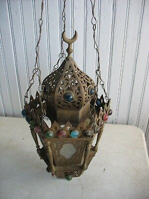 Vintage JEWELED Pierced Brass Hanging Candle Light Lamp Ceiling Fixture Morocco
