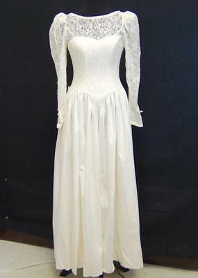 Vintage Laura Ashley Wedding Dress Gown - Lace Cotton Ivory Sweetheart Neckline