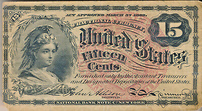 1863 FIFTEEN CENT FRACTIONAL CURRENCY NOTE **4th ISSUE** NICELY CIRCULATED