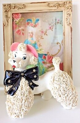 Vintage Shabby Chic Relco Ceramic French Poodle Pink Bonnet Rhinestones Boudoir