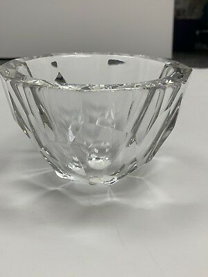 ORREFORS Sweden Crystal Diamond Pattern Design Candy Bowl SIGNED