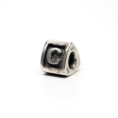 Authentic Pandora Sterling Silver Alpha C Initial Bead 790323C Retired 925 ALE