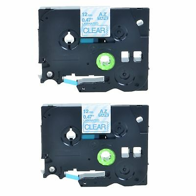 2PK TZ133 TZe 133 Blue On Clear  Label Tape For Brother P-Touch GL-100 PT-1000