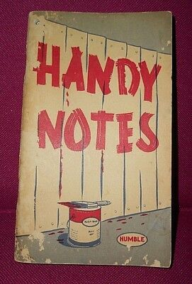 Vintage Humble Oil Co. 72 Page Booklet Handy Notes 1954-1955