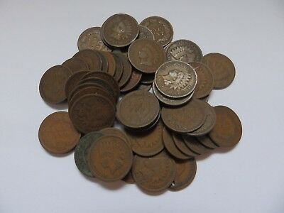 Lot of 40+ Indian Head Pennies Mostly Good 1900s, Few 1800s, Few Culls
