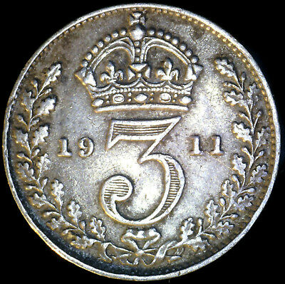Great Britain 1911, 3 Pence KM# 813 {Silver}