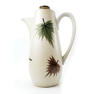 Vintage Harmony House Maple Leaf Coffee Pot Stoneware Mid Century Modern 4102