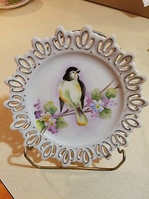 LEFTON CHINA Hand Painted PERCHED Limb Flowers FLY CATCHER or Sparrow BIRD PLATE
