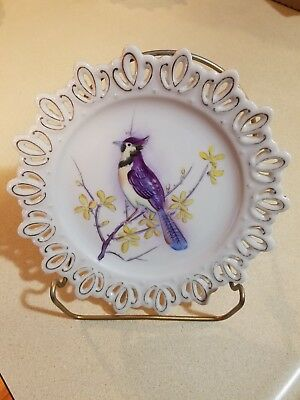 LEFTON China Hand Painted PERCHED Limb & Flowers JAY BIRD Wall Hanging PLATE