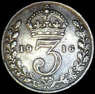 Great Britain 1916, 3 Pence KM# 813 {Silver}