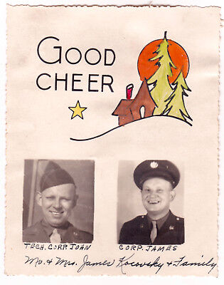 IDd named WW2 US Army CHRISTMAS CARD Homefront WWII RPPC Photo Postcard Soldiers