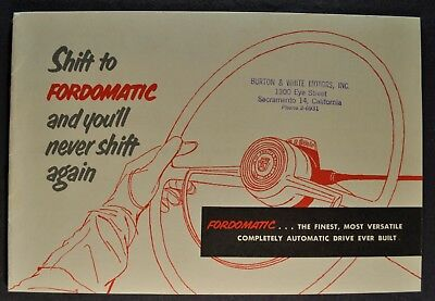 1953 Ford Fordomatic Brochure Mainline Customline Excellent Original 53