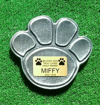 Dog Large Pet Memorial/headstone/stone/memorial heart with plaque paw