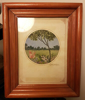 Vintage Framed Gill Michelmore Embroidery Of Flowers & A Field. 27 X 22.5cm.