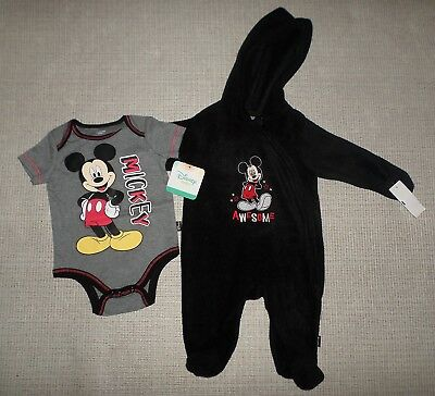 New Infant Boys 2 Pc Lot Mickey Mouse Snowsuit Bodysuit Sz 0/3M 3/6M