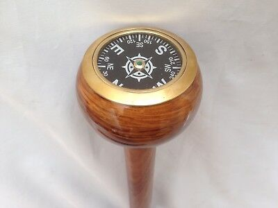Gentlemens Classic 3 Fold Wooden Walking Stick Brass With Brass Compass Handle