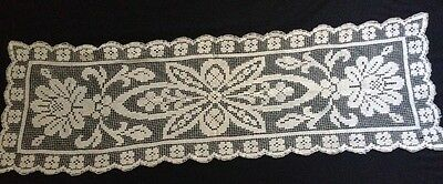Edwardian Italian Off-white HM Darning on Knotted Net Runner  22 1/2 x 16""