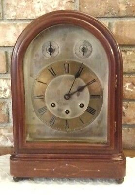 Antique Gustav Becker Westminster Bracket Clock Keeps Good Time & Chimes Right