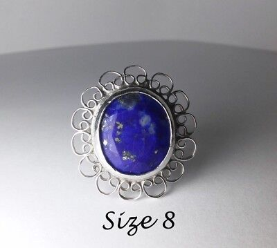 Sz 8 Filigree Lapis Sterling Ring 925 Victorian Antique Vintage Womens Jewelry
