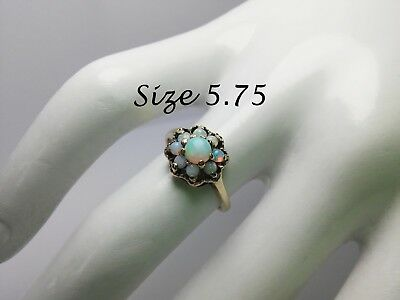 Antique Fire OPAL Ring Sz 5.75 10k Yellow Gold HALO FLOWER Vtg Womens Jewelry