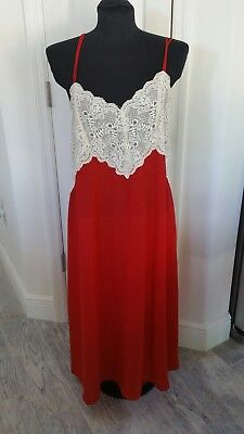 18 20 Intimates Lane Bryant RED POLKA DOT LACE chemise long night gown straps