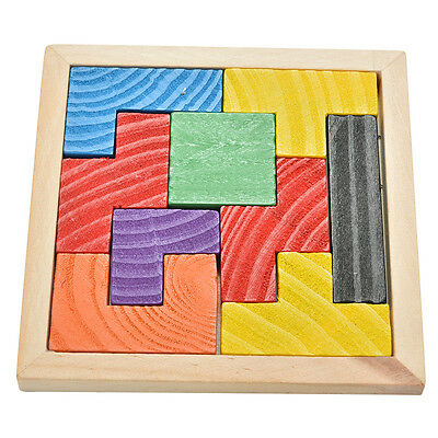 1X Wooden Tangram Brain Teaser Puzzle Tetris Game Educational Baby Child Toy TWG