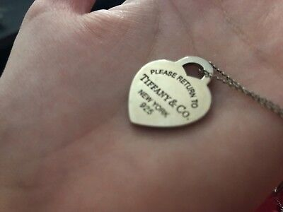 Please Return To Tiffany & Co. Heart Tag Necklace Pendant Sterling Silver