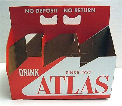 Old Atlas Soda Pop Bottle 6 Pack Carrier Carton Detroit Unused Old Store Stock