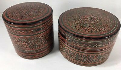 Large Round Red & Green Burmese Lacquer Box Vintage Antique Betel Nut Set Of 2