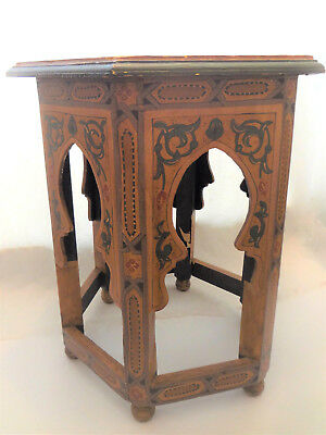 Vintage Boho Chic Hand Painted Moroccan Wood Hexagon Side Table