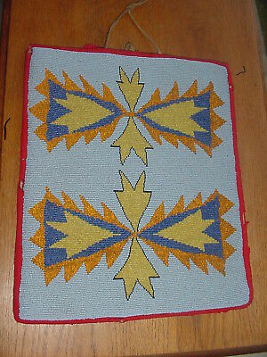 """Large Old Nez Perce Plateau Indian Fully Beaded Flat Bag 13"""" By 11"""""""