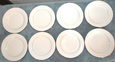 8 Pc Noritake Buckingham Salad Plates White Floral Embossed, Platinum Trim