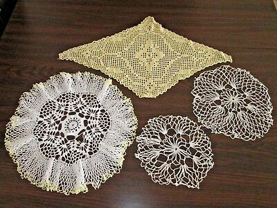 DOILIES VINTAGE LOT OF 4 - White & Pale Yellow Crochet Doily Collection