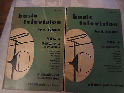 2 Basic Television Manuals Volume 1 & 2 by A.Schure 1958