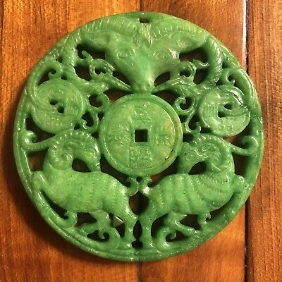 Antique Chinese Old Jade Green Carving Artifact Asian Pendant 1800's Value $400