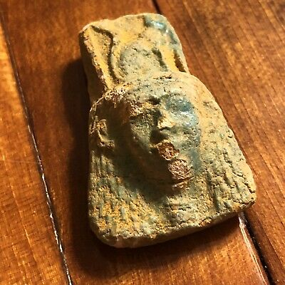 Ancient Egyptian Faience Amulet Talisman 1500 BC Mummy Pendant Artifact Clay