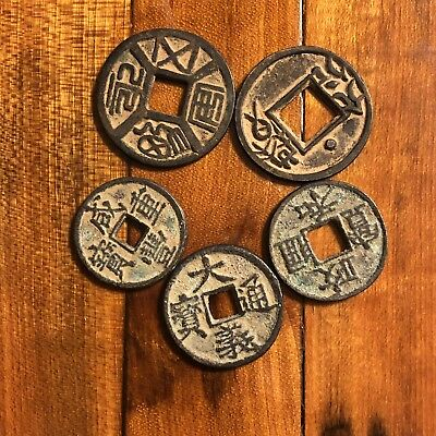 5 Old Antique Vintage Chinese Brass Coins Bronze Asian Pendant Token Medal