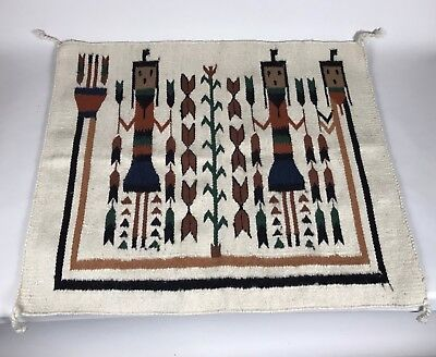 Authentic Handmade Navajo Wool Yei Rug Native American Indian Made Vintage USA