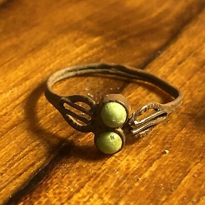Medieval Style Ring European Roman Cabochon Green Stone Artifact Byzantine Old
