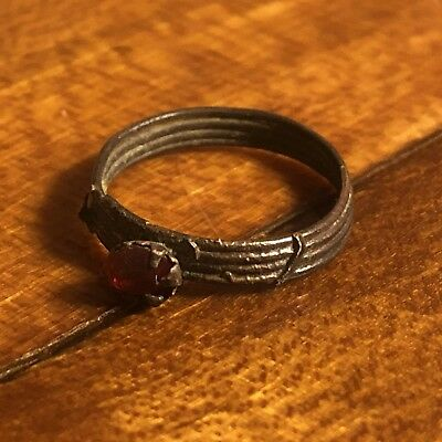 Post Medieval Old Ring European Roman Red Round  Stone Artifact Middle East