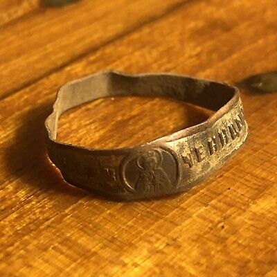Medieval Wedding Band Ring Russian Orthodox Inscribed Jewelry Artifact European