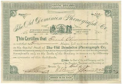 Old Dominion Phonograph Co. Stock