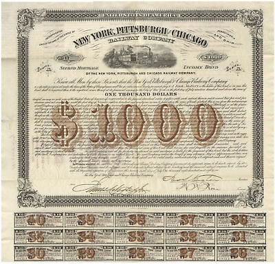 New York, Pittsburgh & Chicago Railway Co. Signed By Civil War