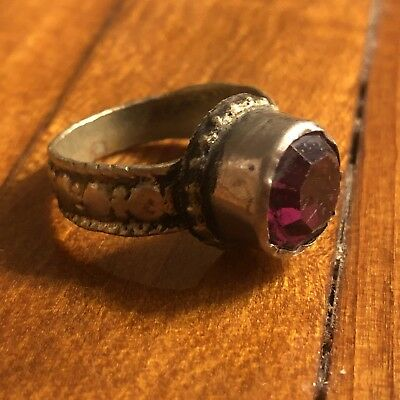 Post Medieval Style Ring European Roman Red Cabochon Stone Artifact Middle East