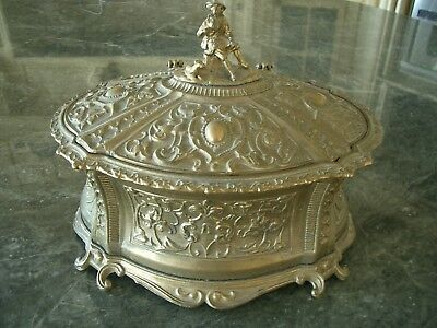 Lg Heavy Antique Vtg Figural Reticulate Brass Tone Metal Jewelry Trinket Box