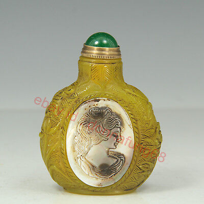 Chinese Exquisite Handmade beauty Glass mosaic conch snuff bottle