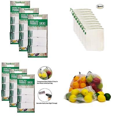 Earthwise Reusable Mesh Produce Bags - Washable Set Of 9 Premium Bags, Transpare
