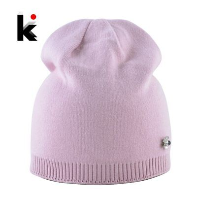 Solid Color Knitted Hat With Metal Flower Accessories Women Autumn Winter Knit